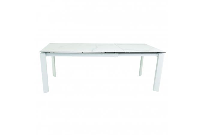 table a manger 140 cm extensible blanc foola design sur sofactory. Black Bedroom Furniture Sets. Home Design Ideas