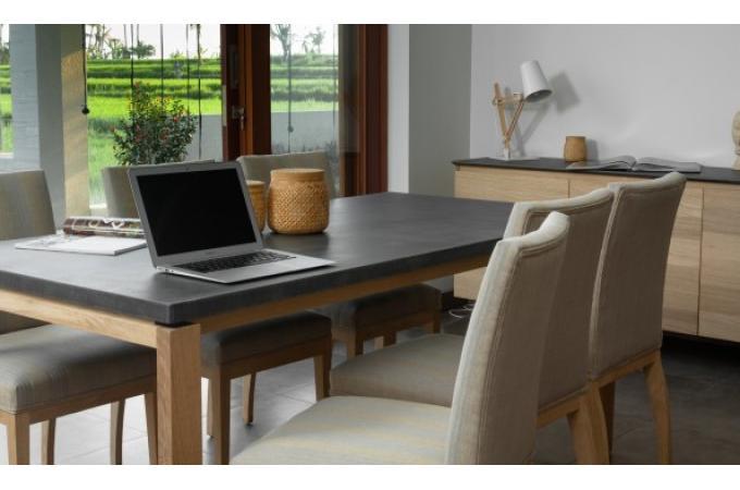 table manger 180 en ch ne massif avec plateau noir cama. Black Bedroom Furniture Sets. Home Design Ideas