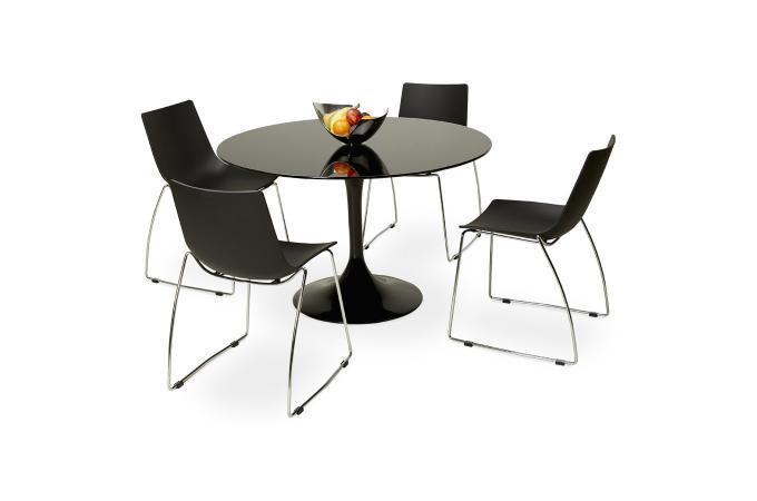 Table à Manger En Verre Noir ALABAMA design sur SoFactory