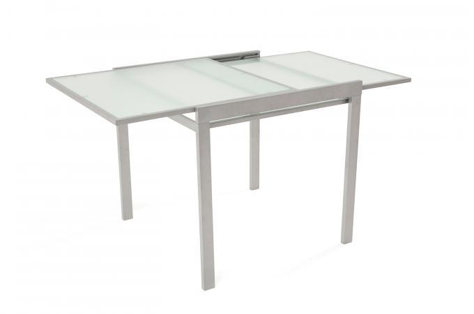 table a manger extensible verre et m tal 2 allonges grise. Black Bedroom Furniture Sets. Home Design Ideas