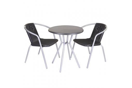 Table manger ext rieur gris noir elio design sur sofactory - Table a manger exterieur ...
