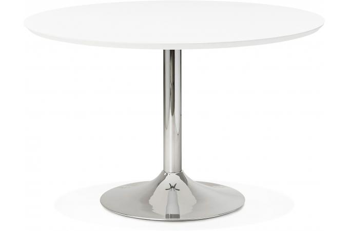 Table manger ronde blanche pied m tal d120 nett design for Table ronde pied metal