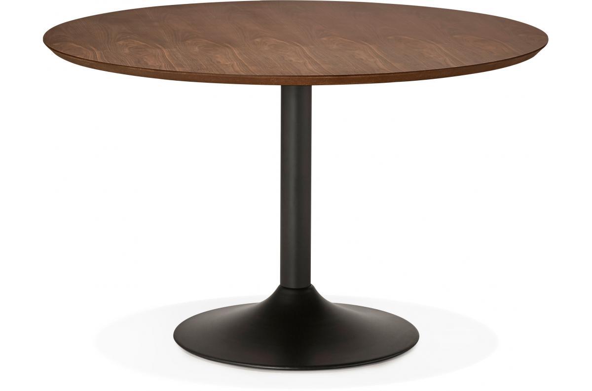 Table à Manger Ronde Noisette Pied Noir D120 Nett