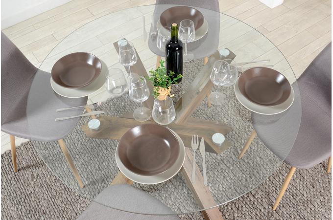 Table A Manger Ronde Verre Trempe Sutira Design Sur Sofactory
