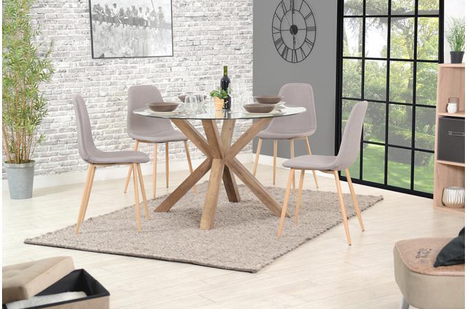 table manger ronde verre tremp sutira design sur sofactory. Black Bedroom Furniture Sets. Home Design Ideas