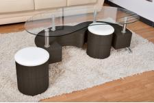 Table basse + 2 poufs en KD Décor WENGE