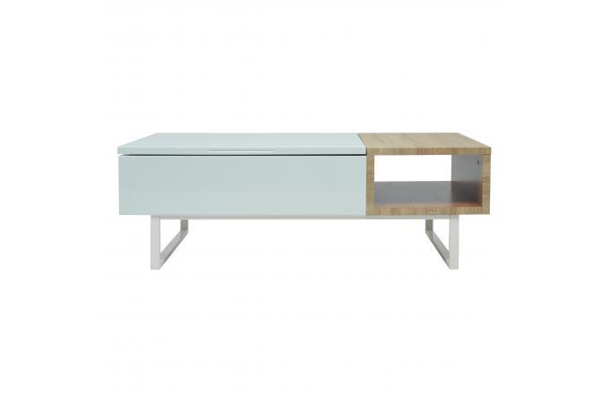 Table Basse Avec Rangement Blanc Bois Emidio Design Sur Sofactory