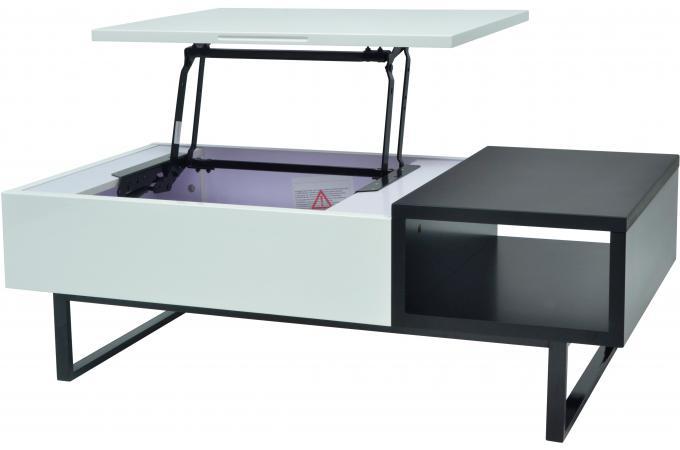 Table Basse Avec Rangement Blanc Gris Emidio Design Sur Sofactory