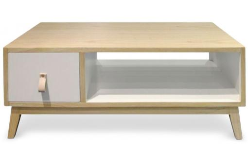 Table Basse Avec Tiroir Scandinave Blanc NORTH SoFactory