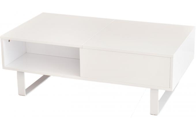 Table basse blanche avec plateau relevable minseo design - Kendra table basse blanche plateau relevable ...