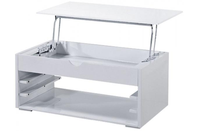 Table basse blanche avec tiroir sewup design pas cher sur - Table basse blanche avec tiroir ...