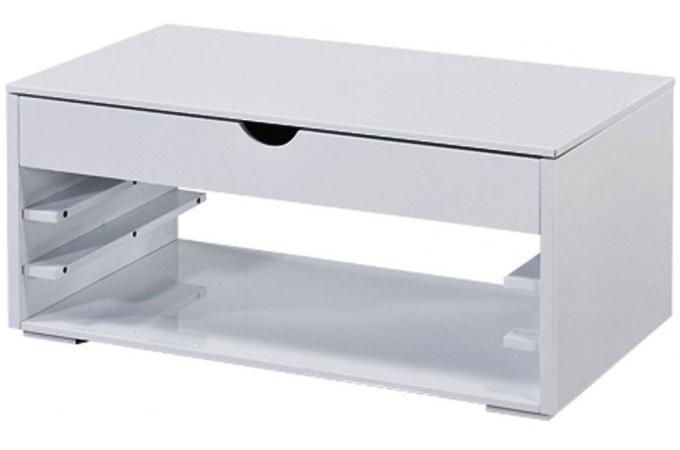 Table basse blanche avec tiroir sewup design pas cher sur sofactory - Table basse blanche tiroir ...