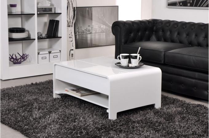 Table basse en imitation bois blanche plateau relevable Table basse relevable en bois
