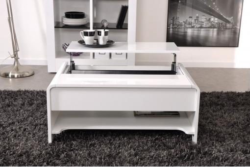 table basse en imitation bois blanche plateau relevable. Black Bedroom Furniture Sets. Home Design Ideas