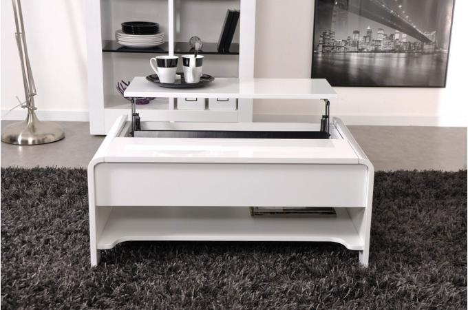 Table basse en imitation bois blanche plateau relevable - Table relevable blanche ...