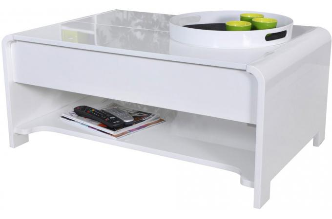 table basse en imitation bois blanche plateau relevable. Black Bedroom Furniture Sets. Home Design Ideas