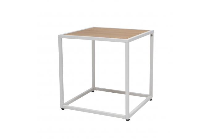 table d 39 appoint carr e bois m tal blanc 40x40cm suram design sur sofactory. Black Bedroom Furniture Sets. Home Design Ideas