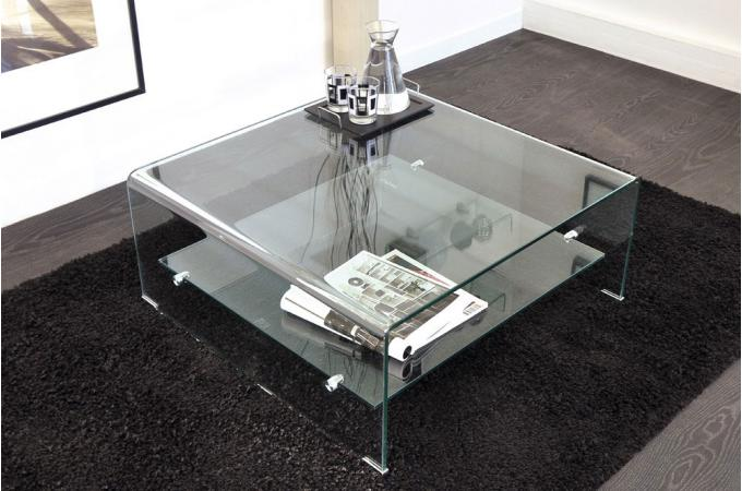 Table basse carr en verre ottawa design sur sofactory for Grande table de salon en verre