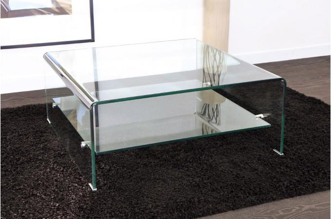 Table basse carr en verre ottawa design sur sofactory for Tables de salon en verre