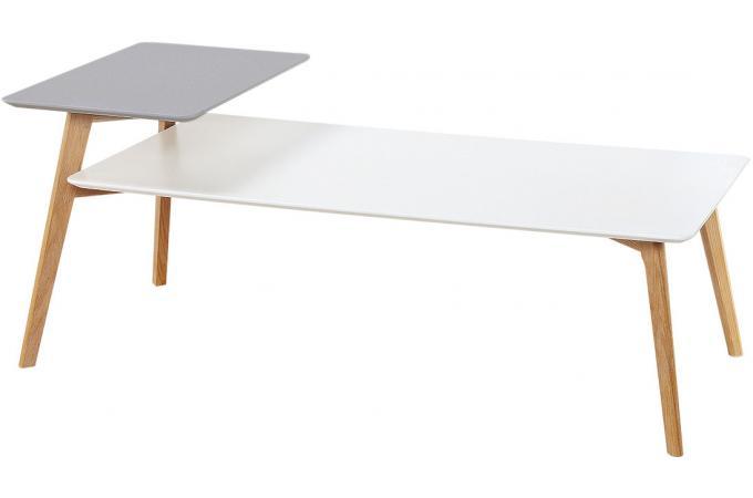 table basse double plateau gris et blanc anders design sur sofactory. Black Bedroom Furniture Sets. Home Design Ideas