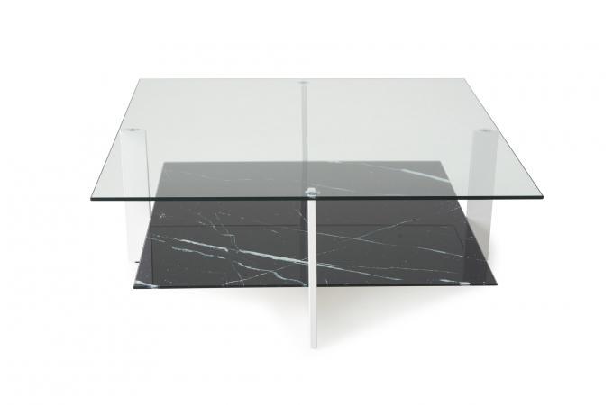 table basse double plateau verre noir grecia design sur sofactory. Black Bedroom Furniture Sets. Home Design Ideas
