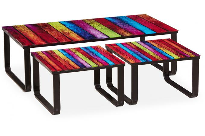 Table basse gigogne multicolore porto novo design sur - Table basse multicolore ...