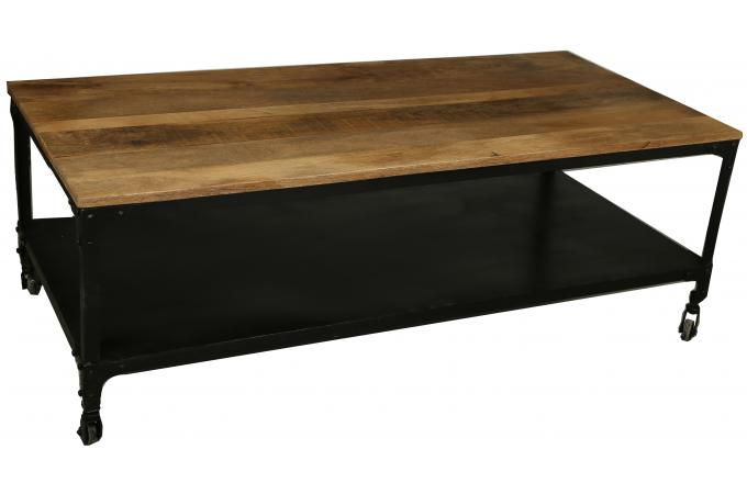 table basse industrielle roulettes en bois movea design sur sofactory. Black Bedroom Furniture Sets. Home Design Ideas