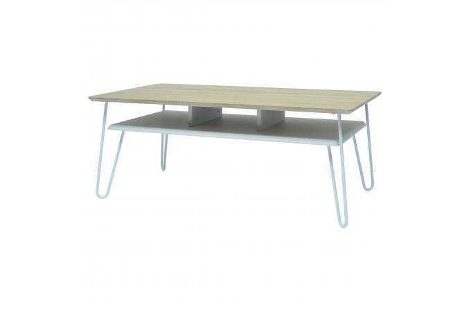 Table Basse Industrielle Bois Et Métal Blanc Farah Design Sur Sofactory