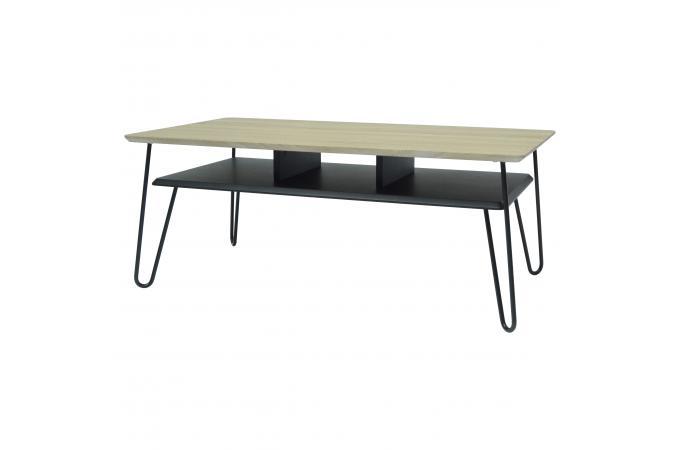 table basse industrielle bois et mtal noir farah