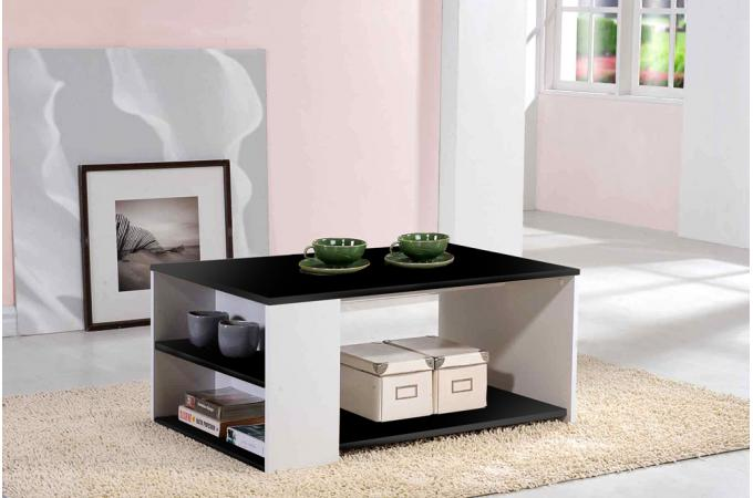 Table basse noir et blanc moderno design sur sofactory for Table noir et blanc