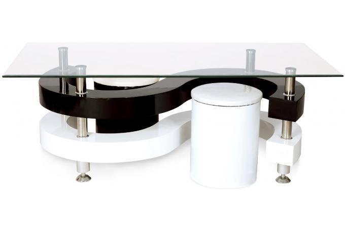 Table basse plateau en verre gaia design pas cher sur - Table basse double plateau en verre ...