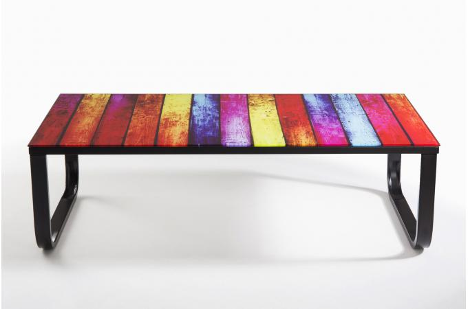 Table basse plateau verre nowark design sur sofactory - Table basse multicolore ...