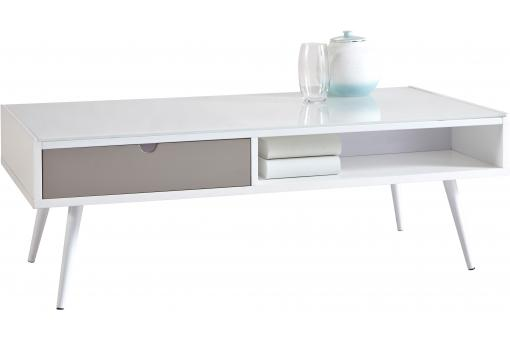 Table basse rectangulaire grise blanche DOMINO