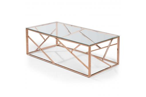Table Basse Rectangulaire Or Rose Verre Transparent COUNDA SoFactory