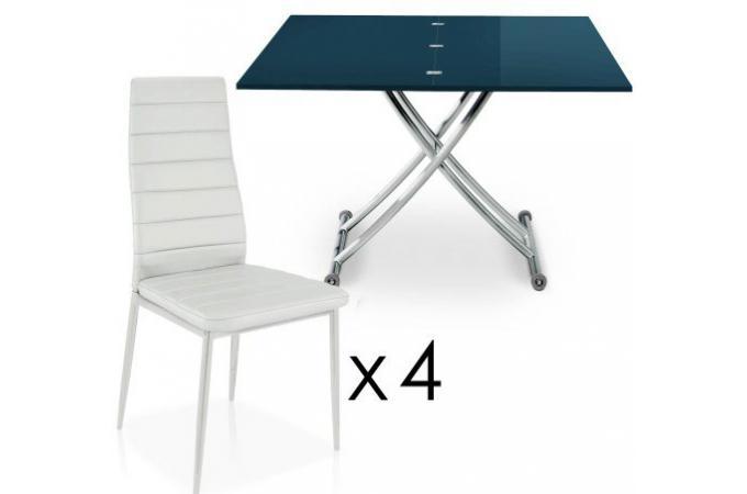 Table Basse Relevable Rallonges Bleu 4 Chaises Blanche