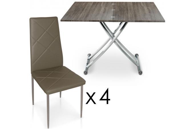 Table basse relevable rallonges bois vintage avec 4 - Table basse relevable a rallonge ...