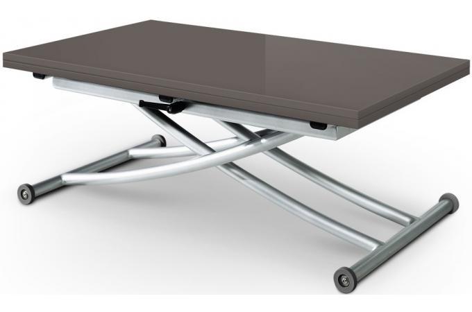 Table basse relevable rallonges grise fonc avec 4 chaises grise choeur design sur sofactory - Table basse relevable grise ...