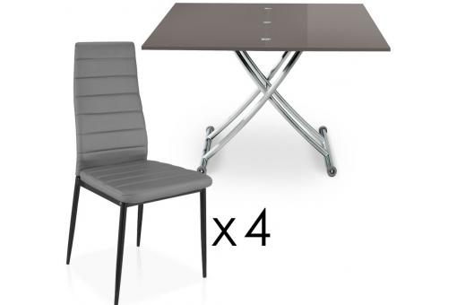 Table basse relevable rallonges grise fonc avec 4 - Table basse relevable a rallonge ...