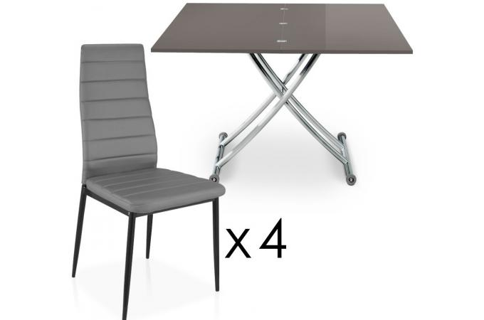 table basse relevable rallonges grise fonc avec 4. Black Bedroom Furniture Sets. Home Design Ideas