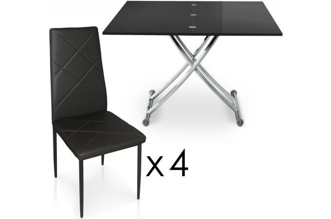 Table basse relevable rallonges noire laqu avec 4 for Table rallonge noire