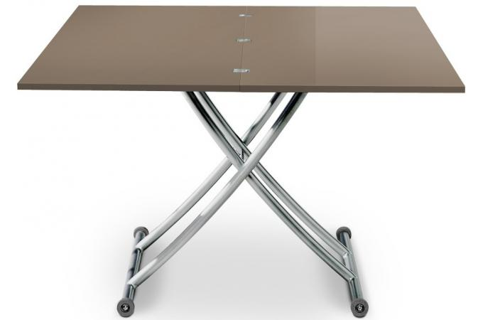 Table basse relevable rallonges taupe avec 4 chaises - Table basse relevable a rallonge ...