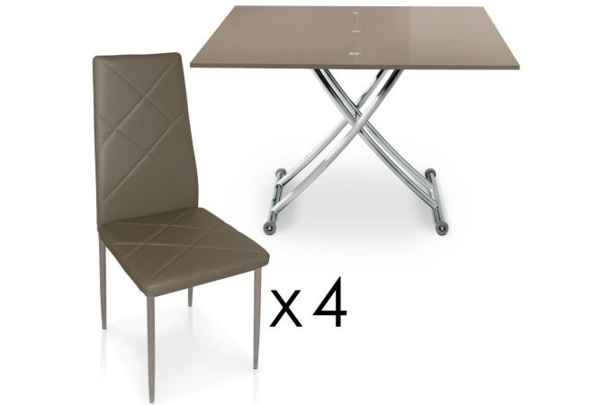 table basse relevable rallonges taupe avec 4 chaises taupe choeur design pas cher sur sofactory. Black Bedroom Furniture Sets. Home Design Ideas