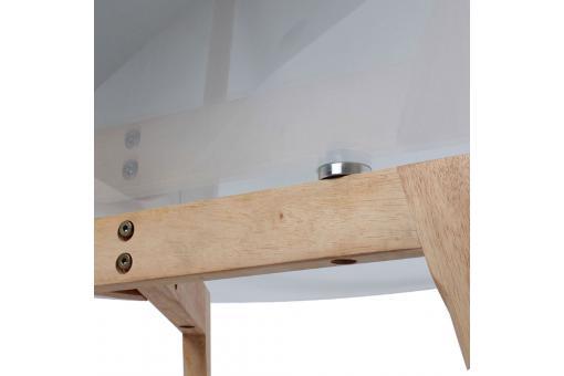 Table Basse Ronde D80cm En Verre Piétement En Bois Beige Camy