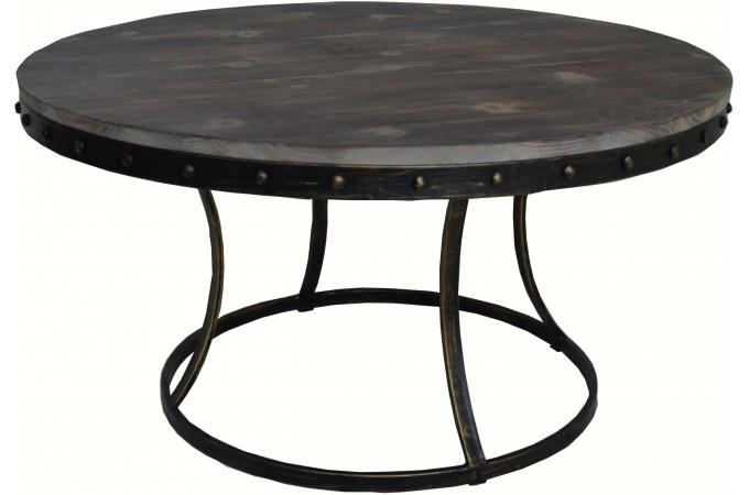 Table basse ronde en m tal et bois fondia design sur sofactory for Table ronde bois metal