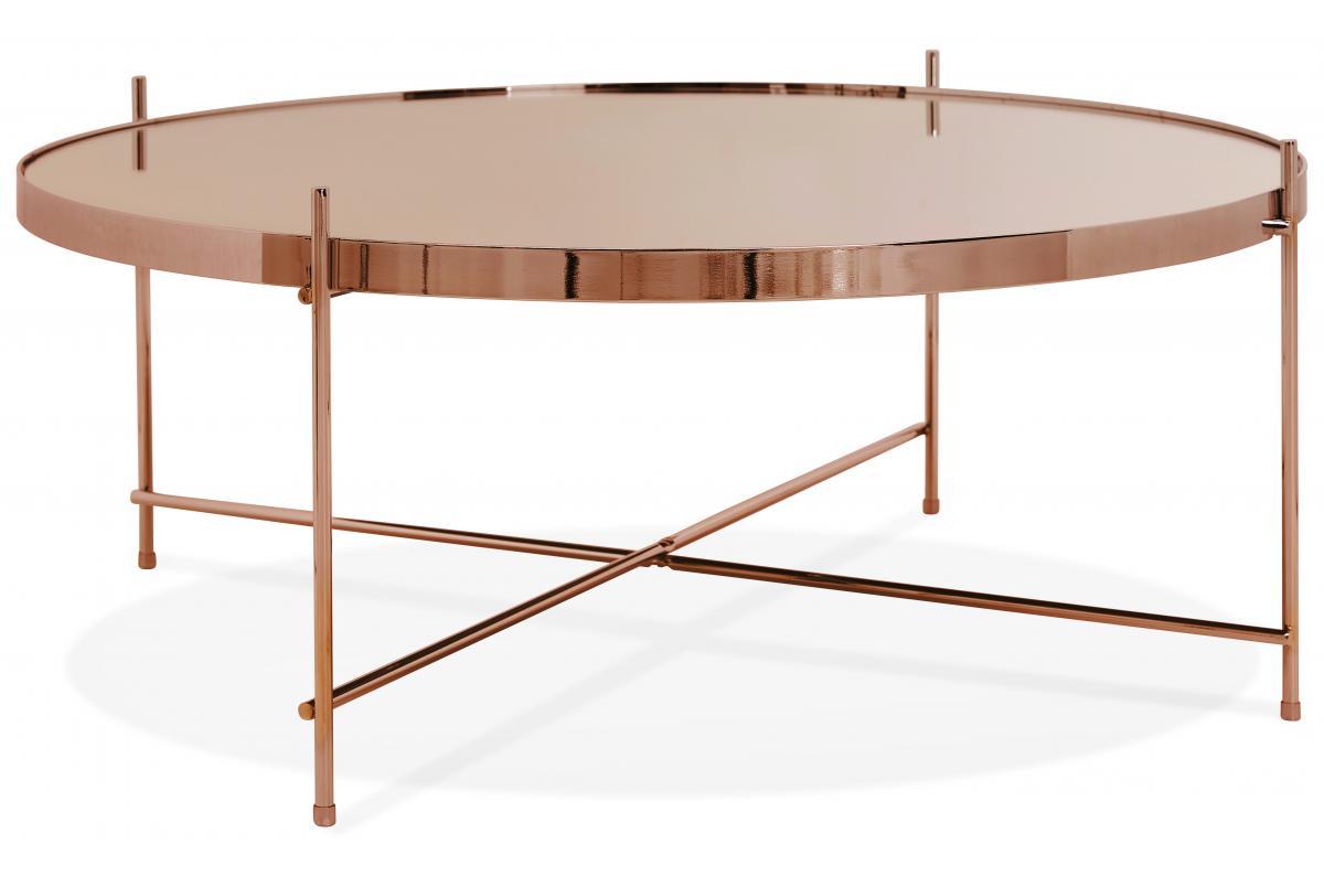 Table Basse Ronde Grande En Verre Cuivre Et Pietement En Metal Mento