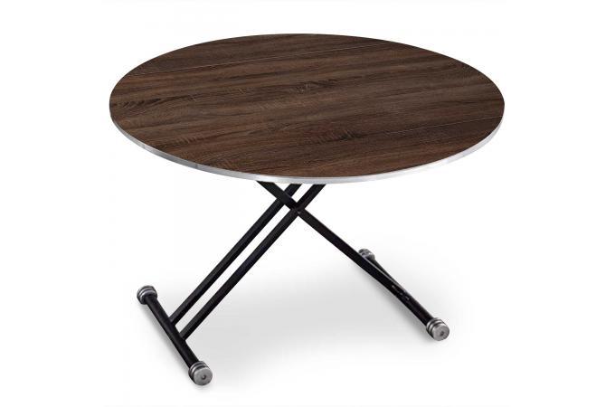 Table Basse Ronde Réglable en Hauteur Bois Foncé GUINEO. Astucieuse et  design 38f14a80db9e