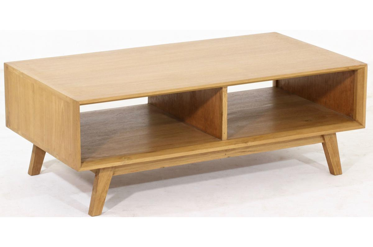 Table Basse Scandinave avec 2 Niches en Teck Massif Beige PEPIN SoFactory
