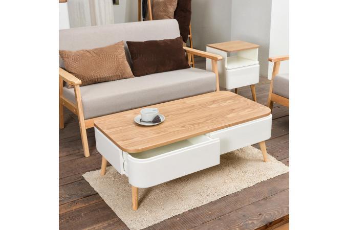 Table Basse Scandinave Bois Blanc Celilo Design Sur Sofactory