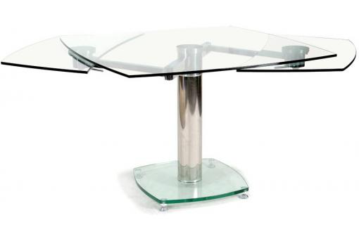table carr e avec allonges plateau verre transparent loan. Black Bedroom Furniture Sets. Home Design Ideas
