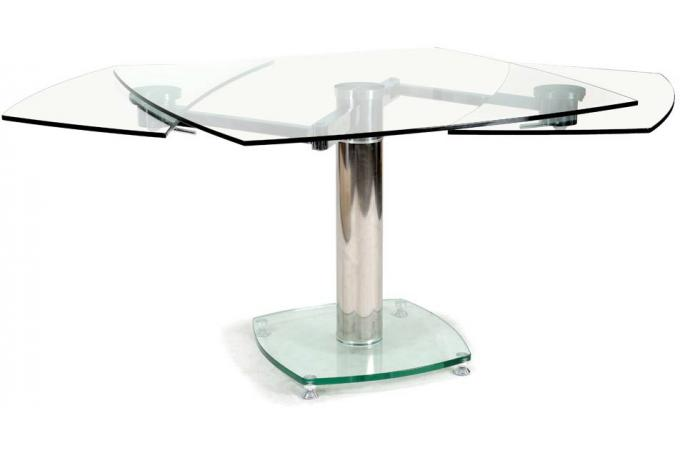 Table carr e avec allonges plateau verre transparent loan design sur sofactory - Table en verre avec rallonges ...